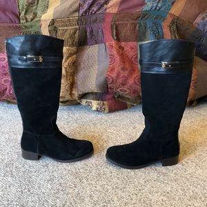 Tory Burch black suede tall logo heeled boots 9.5